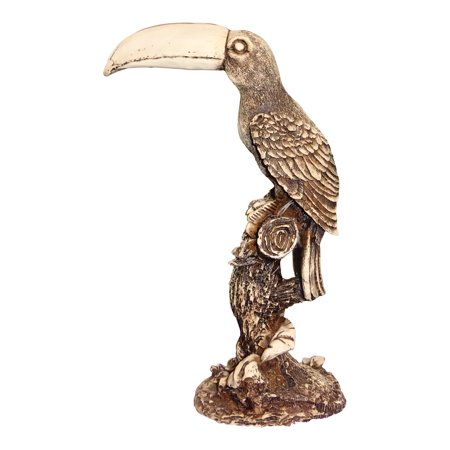 The Crabby Nook Toucan Sculpture Hand Carved Fish Bone Statue Home Decor Bone Carving Sculpture