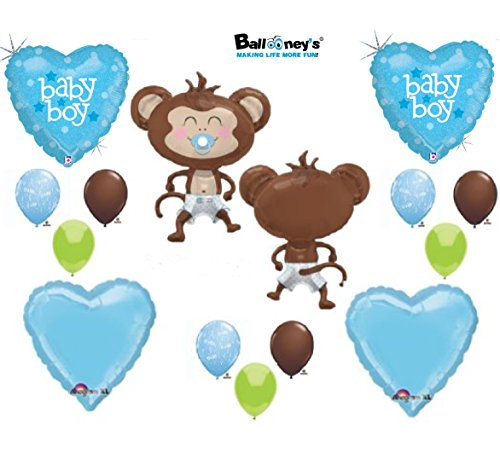 It's a Boy Monkey Wearing Diaper Baby Shower Balloons Decorations Blue Pacifier