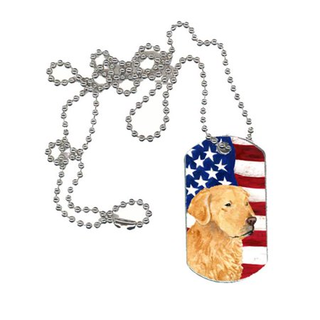 Carolines Treasures SS4055DT USA American Flag with Golden Retriever Dog Tag](Military Dog Tags For Sale)