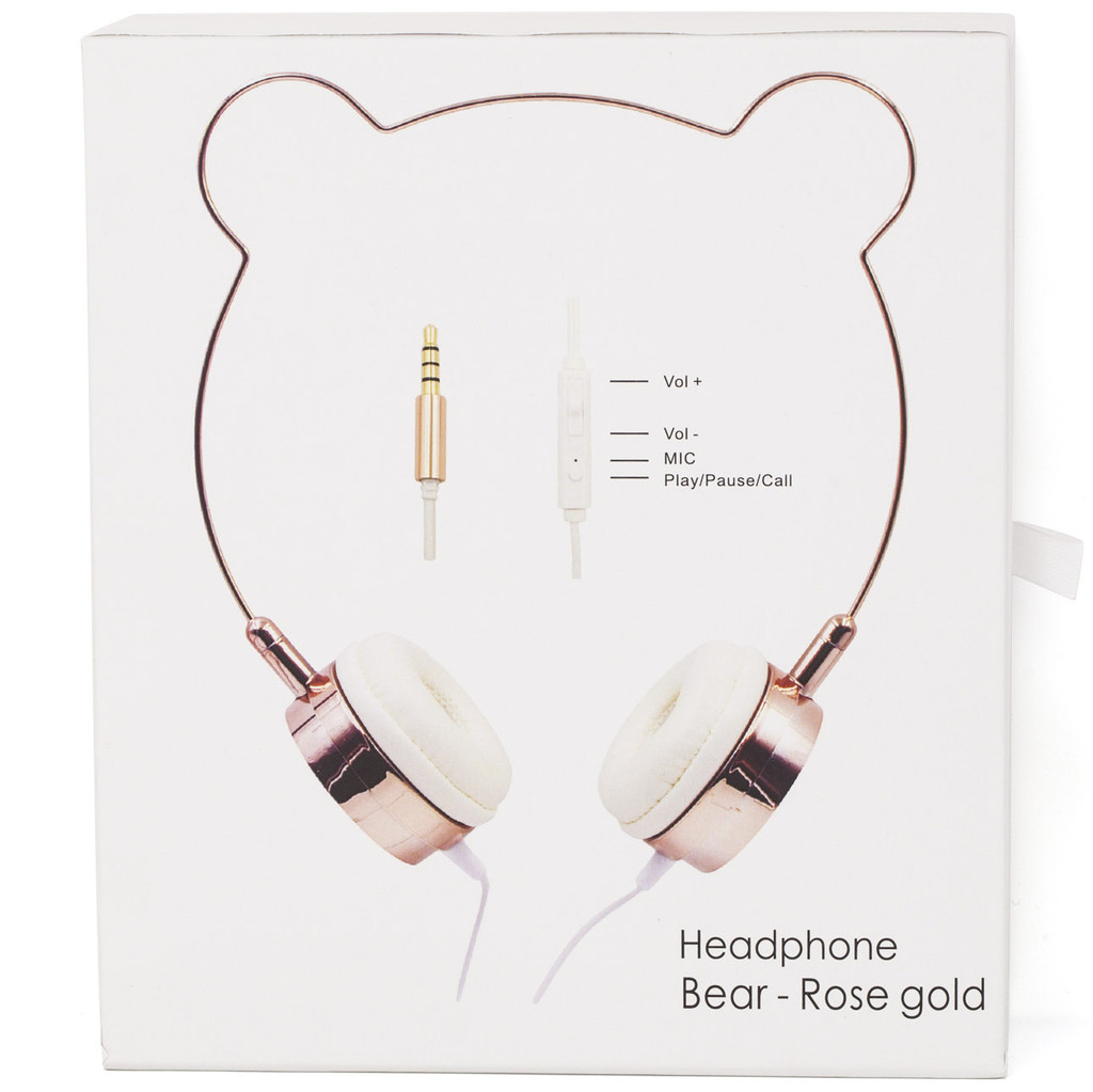 Lux Accessories Rose Gold Bear Ears Headphones Wire Frame Headset w Microphone