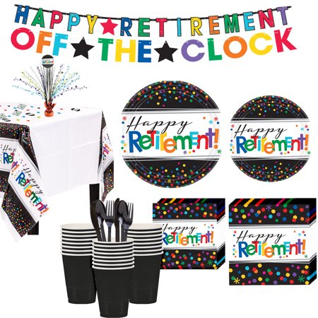Happy Retirement Celebration Party Kit for 32 Guests, 309 Pieces, Includes Décor](Retirement Center Pieces)