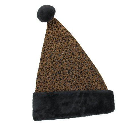 Yellow Santa Hat (Gold and Black Metallic Leopard Print Christmas Santa Hat; Adult)
