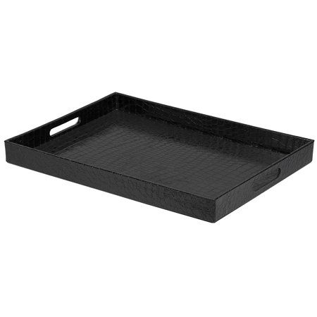Black Faux Leather Serving Tray With Handles 18