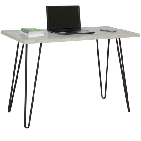 Best Choice Products Hardwood Living Space Writing Computer Office Desk w/ Hairpin Metal Legs - Gray