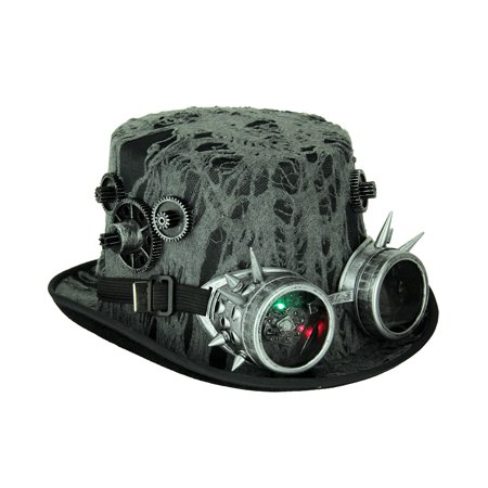Hat With Goggles (Steampunk Time Traveler Top Hat With LED Flashing)
