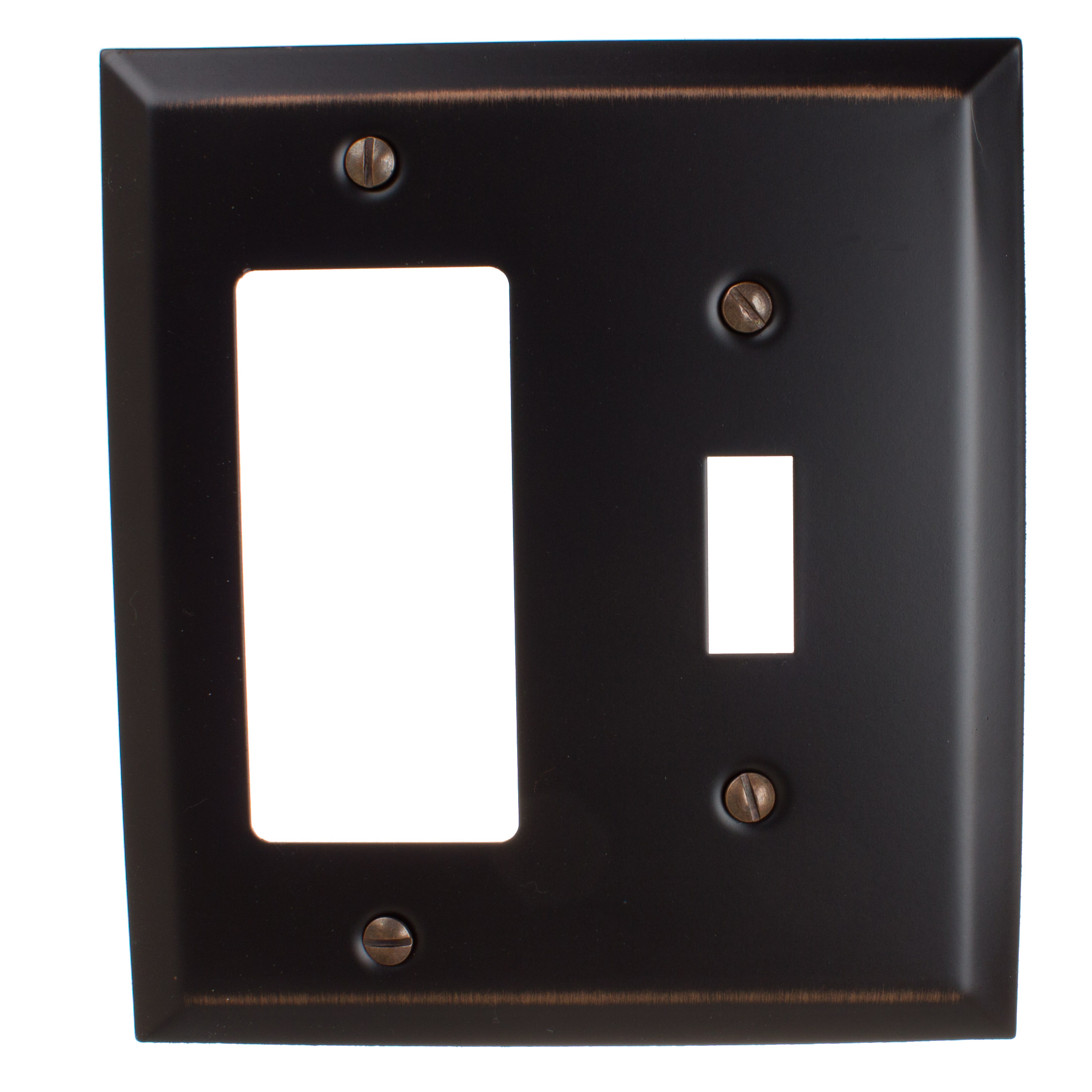 GlideRite Hardware Toggle Light Switch and Decora Rocker Beveled Wall Plate Cover, Brushed Nickel