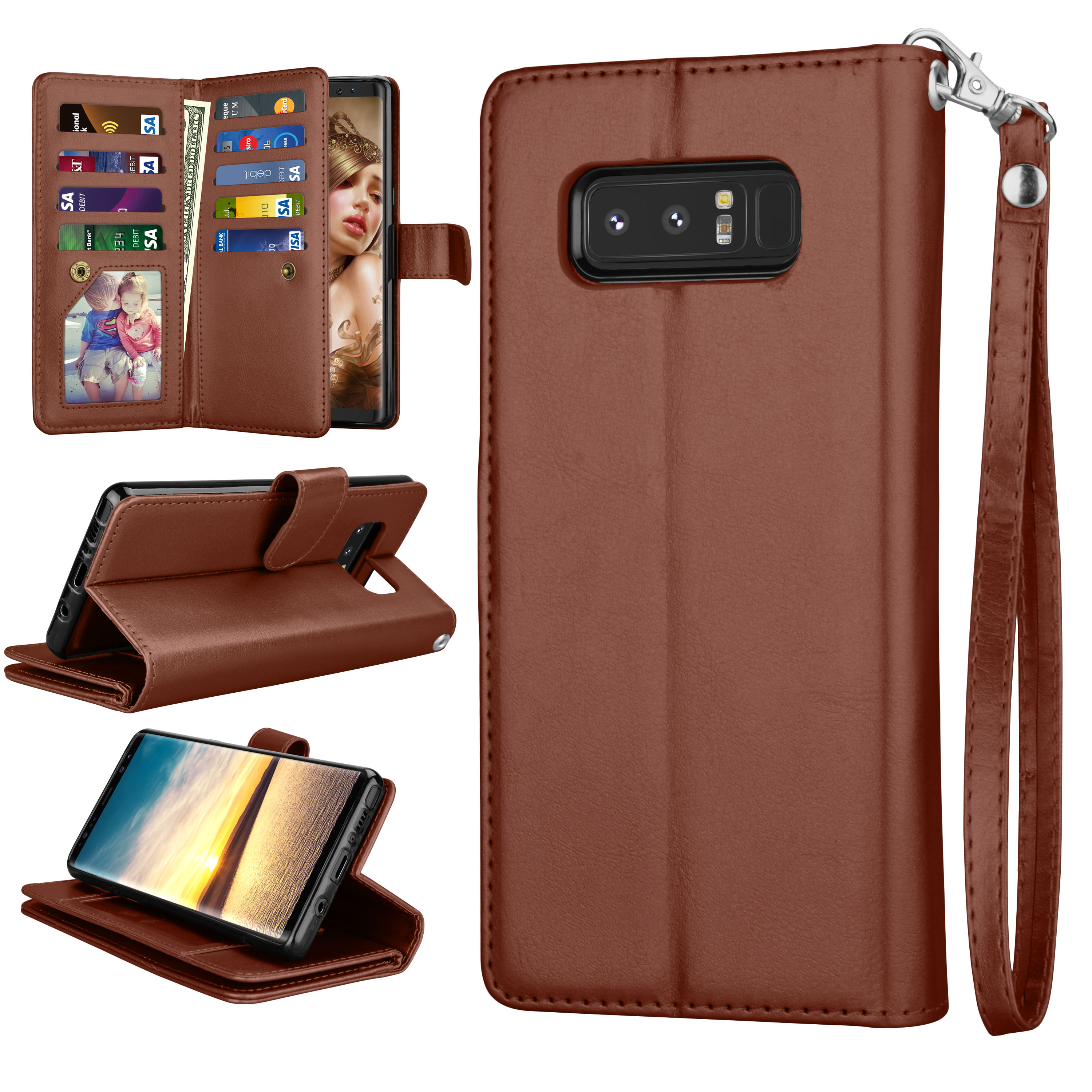 Galaxy Note 8 Case, Note 8 Wallet Case, Njjex Luxury PU Leather Wallet Case with ID&Card Holder Slot Detachable Magnetic Hard Case & Kickstand Case For Samsung Galaxy Note 8 -Rose Gold