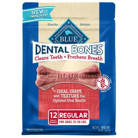 Blue Buffalo Dental Bones Natural Adult Dental Chew Regular Dog Treat, 12-oz bag