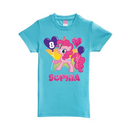 Personalized My Little Pony Pinkie Pie Birthday Aqua Girls' Fitted T-Shirt ()