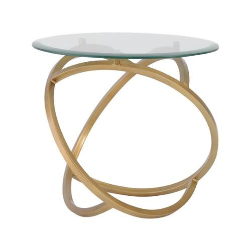 A.H. by Horizon Interseas Modern Goldtone Metal Hoops Side Table with Glass Top