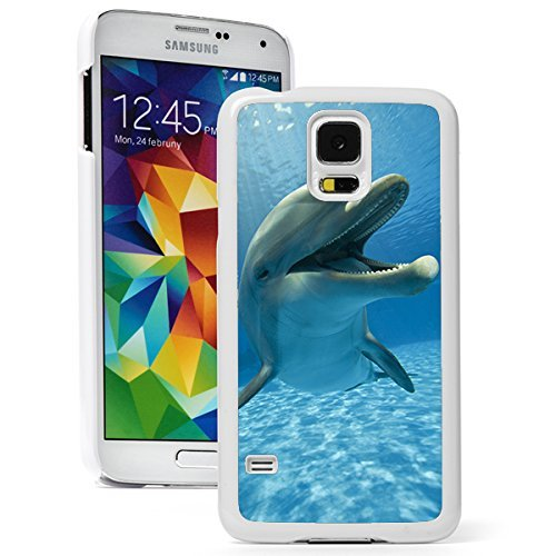 Samsung Galaxy (S5 Mini) Hard Back Case Cover Close Up Smiling Dolphin (White)
