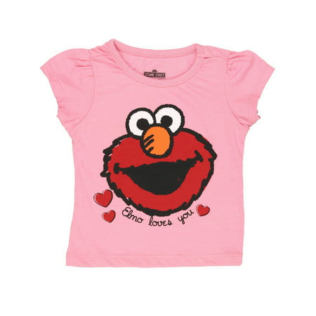 Sesame Street Elmo Girls Short Sleeve Tee 6SE5798](Elmo Kids)