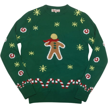 Digital Dudz Green Gingerbread Snack Adult Costume Christmas Sweater Medium (Digital Dudz Christmas)