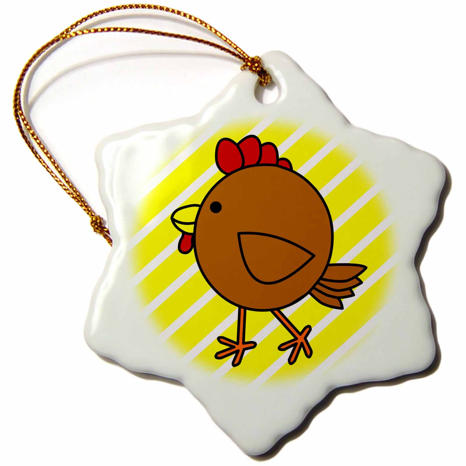 3dRose Chicken Dance Brown with Yellow Stripes, Snowflake Ornament, Porcelain, 3-inch