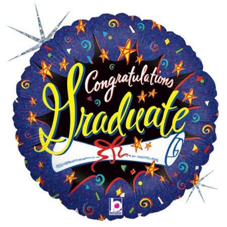 Burst Foil - Betallic Congratulations Grad Burst Holographic Round 18