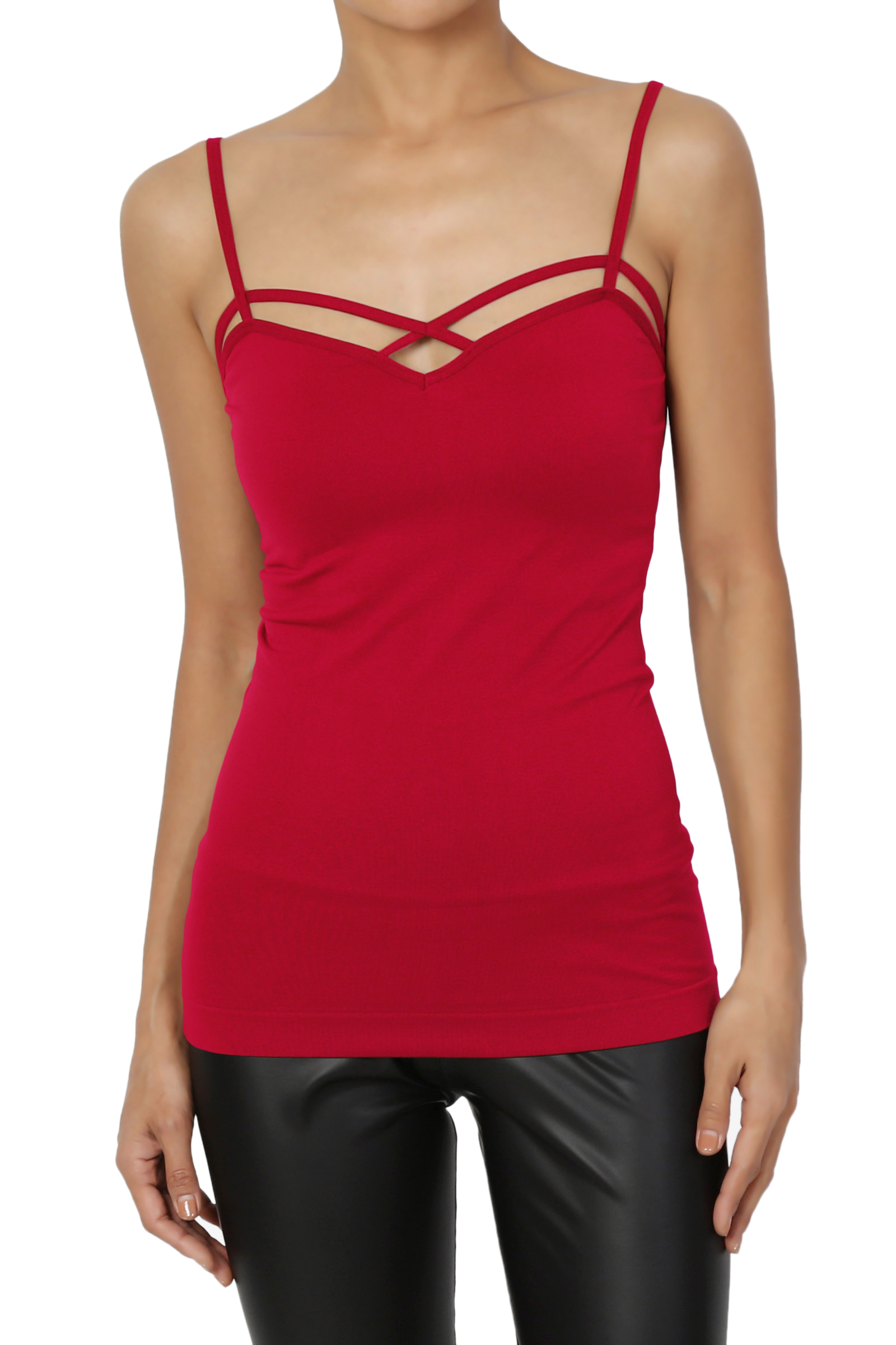 TheMogan Women's & PLUS Caged Front Spaghetti Strap Seamless Tank Top Camisole