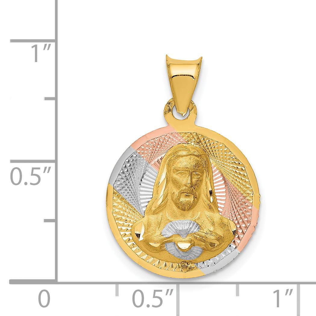 14K Rhodium Plated Yellow Gold & Rhodium Polished & Diamond Cut Sagrado Corazon Circle Pendant - image 1 de 2