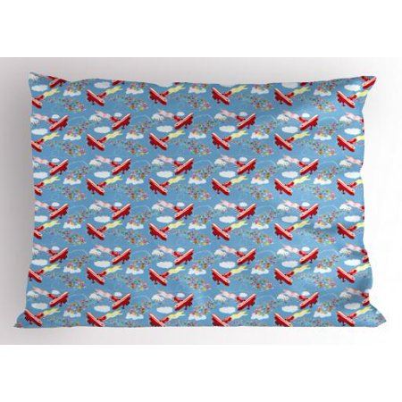 Airplane Pillow Sham Retro Biplanes with Pennants Throwing Present Boxes Announcement Celebration Art, Decorative Standard Queen Size Printed Pillowcase, 30 X 20 Inches, Multicolor, by - Airplane Announcement