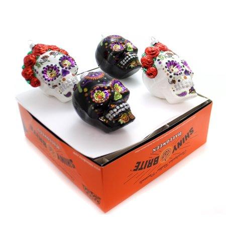 Christopher Radko Shiny Brite Halloween (Christopher Radko HALLOWEEN DAY OF DEAD SKULLS Shiny Brite Ornament)