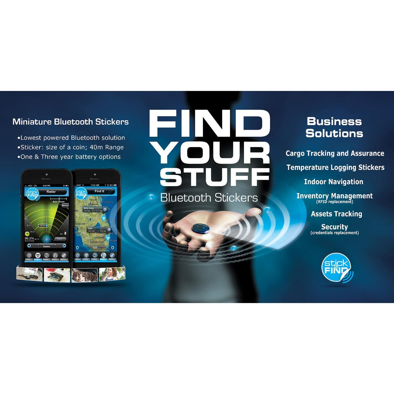 Smead 02218 Stick-N-Find Bluetooth Location Tracker - Bluetooth - 2 / Pack  - Black
