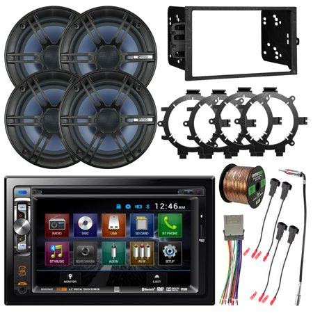 "Dual 6.2"" Double-DIN USB DVD CD Bluetooth Car Receiver, 4x Enrock 6.5"" 2- Way Marine Coaxial Stereo Speakers, Dash Installation Kit, Speaker Adapters, Wire Harness"