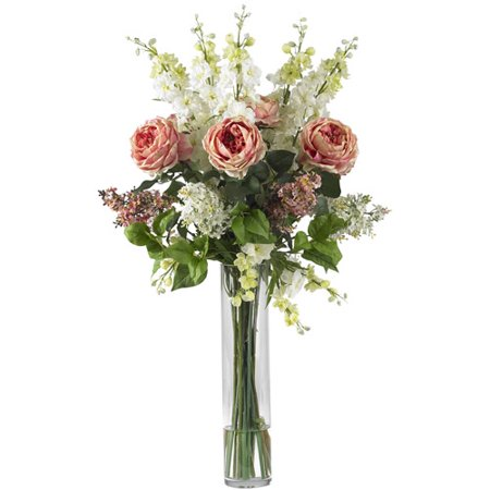 Nearly Natural Rose, Delphinium and Lilac Silk Flower Arrangement, Pink Medium Pink Roses