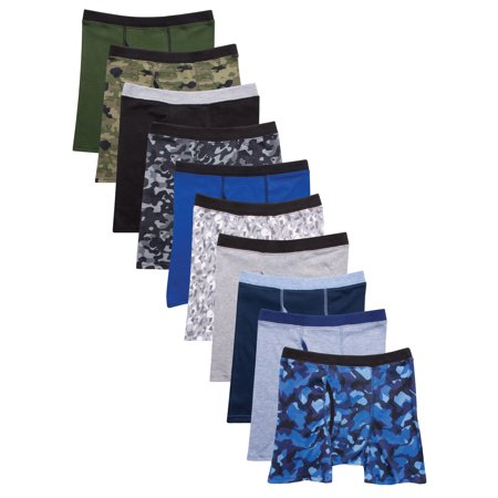 Hanes Boys' 10pk Camo Soft Comfort Boxer Briefs - Colors Vary M