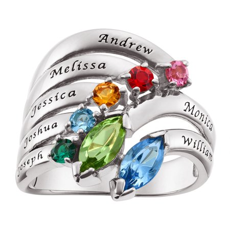 Kids Birthstone Rings (Personalized Women's Sterling Silver or Gold over Silver Parent and Child Name & Marquise Birthstone)