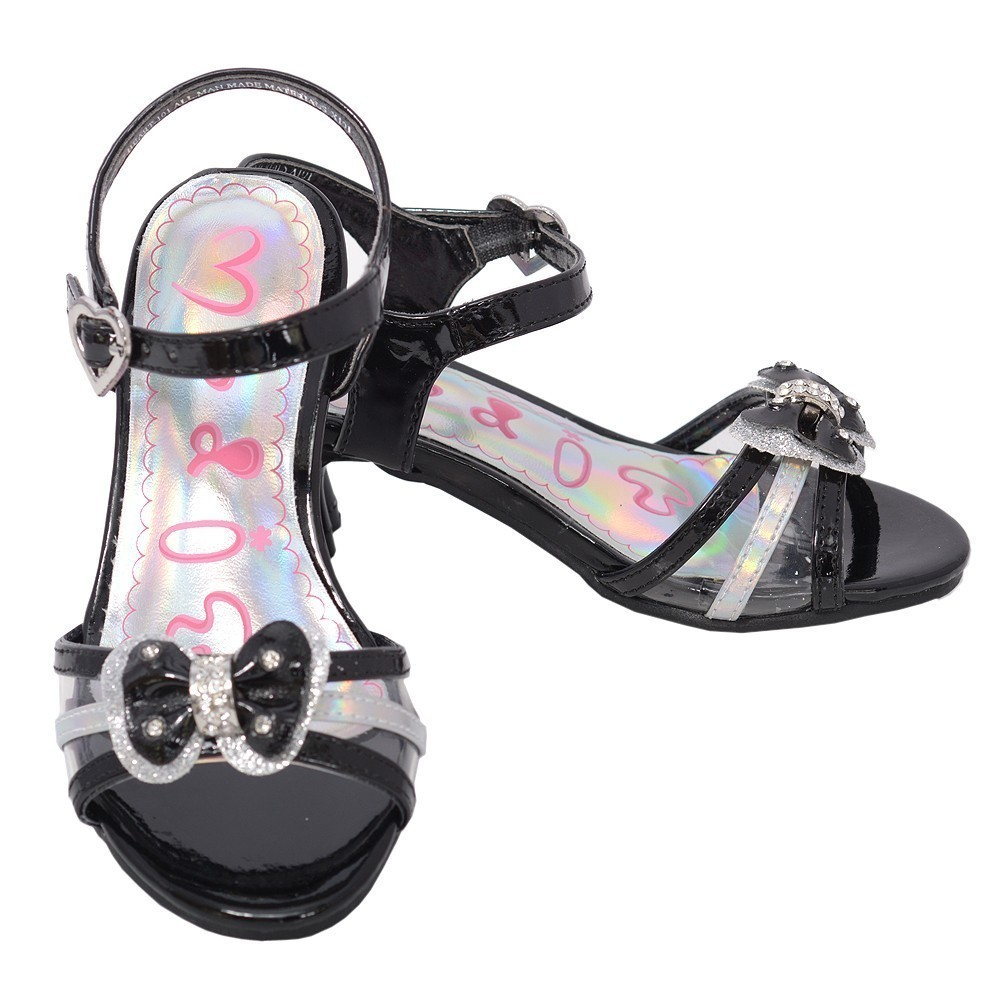 Toddler Girls 5 Black Clear Strap Jewel Bow Kitten Heel Dress Shoe