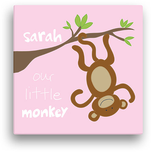 "Sandra Magsamen Personalized Little Monkey Canvas Wall Art, 16"" x 16"", Pink"
