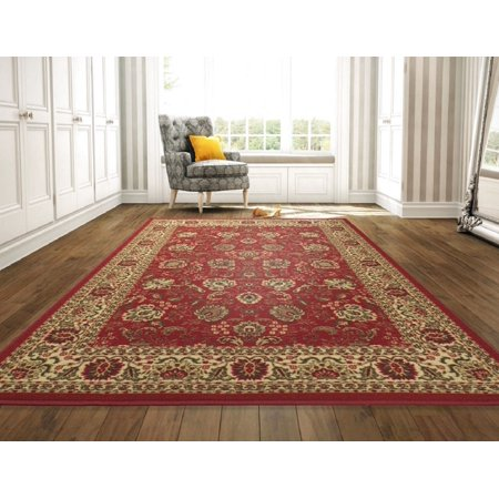 Ottomanson Ottohome Collection Traditional Persian Oriental Floral Design Non-Slip Rubber Backing Area or Runner Rug, Red