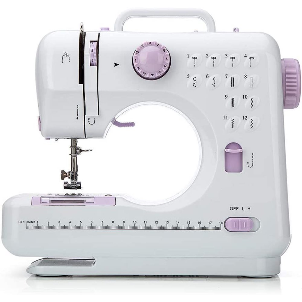 12 Stitches Sewing Machine, Multifunctional Mini Portable Sewing Machine Basic Easy to Use for Adults and Kids, Two-Thread Lockstitch with High & Low Adjustable Speeds