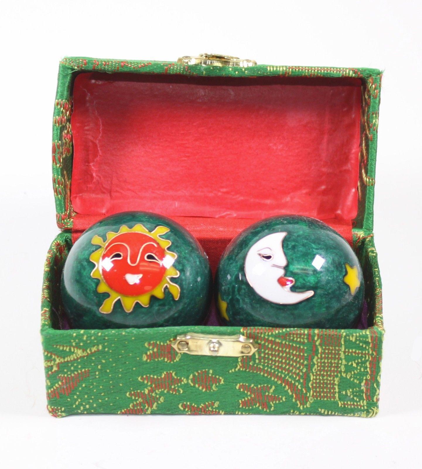 Green Sun & Moon Cloisonne Iron Balls Hand Stress Relief Set EXERCISE Finger Health Therapy US Seller