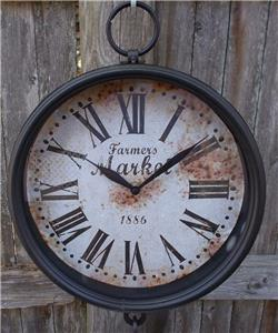 Rustic Hanging Market Produce Grocery Farm Scale Clock Farmhouse Home Wall Decor