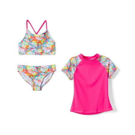 Starburst Bikini Swimsuit and Rashguard, 3-Piece Set (Little Girls & Big Girls)