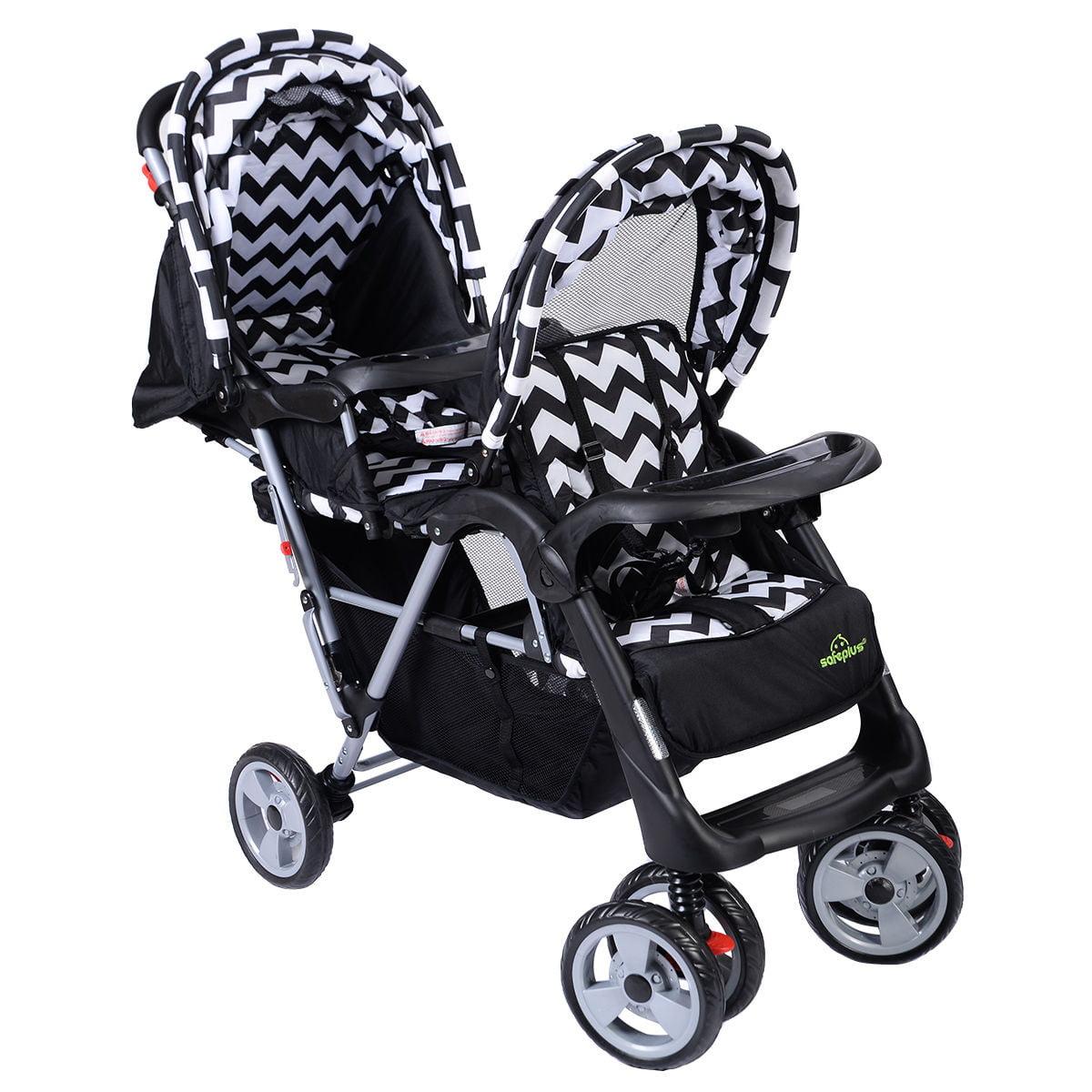 Folding Black Twin Baby Kids Infant Double Stroller Jogger Basket Collapsable