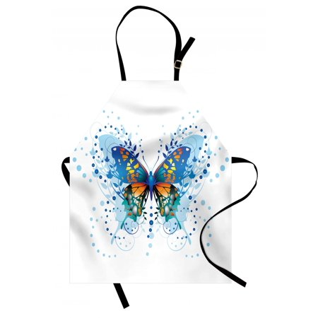 Swallowtail Butterfly Apron Stylized Animal with Twigs Curls and Dots Abstract Art, Unisex Kitchen Bib Apron with Adjustable Neck for Cooking Baking Gardening, Blue Turquoise Orange, by Ambesonne ()