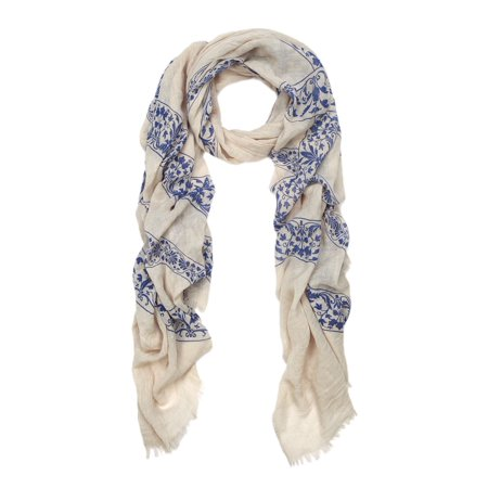 Elegant Viscose Cross Floral Frayed End Scarf - Cross Wrap