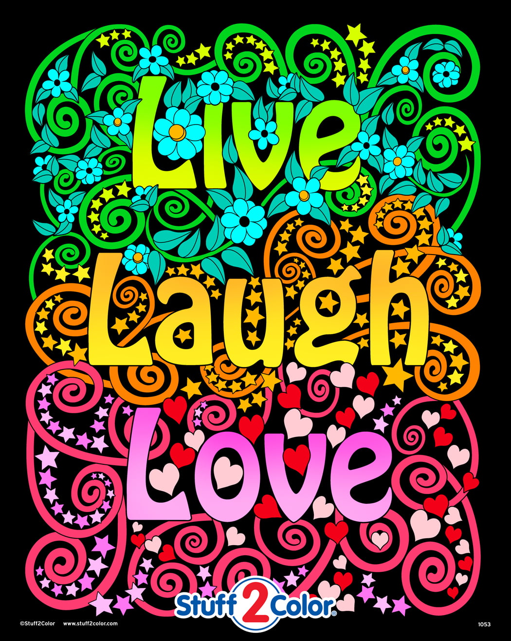 Live Laugh Love - Fuzzy Velvet Coloring Poster For Kids, Toddlers And Adults  (Excellent Quiet Time Arts And Crafts Activity) - Arrives Uncolored -  Walmart.com - Walmart.com