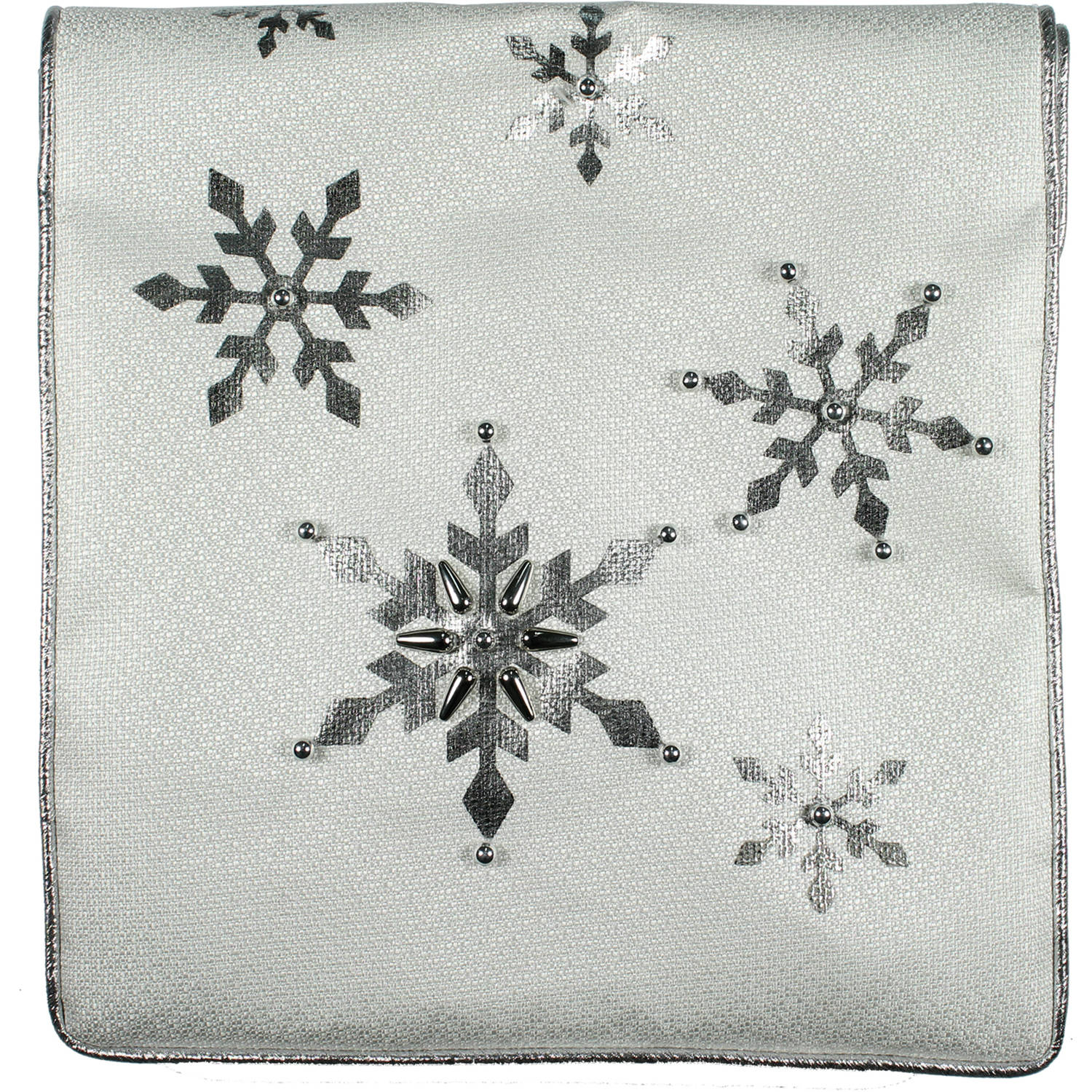 "Holiday Time Christmas Decor White Foil Snowflake 72"" Table Runner"
