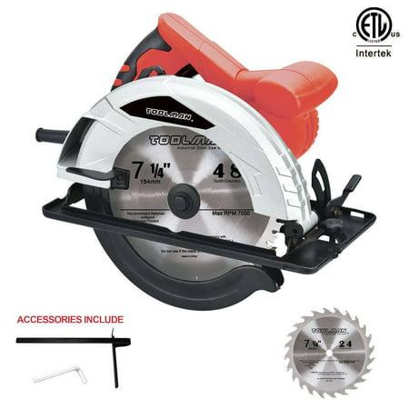 """Toolman Heavy Duty 12 A 7-1/4"""" Adjustable Electric Circular Saw w/ 2 blade"""