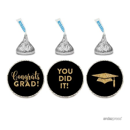 Chocolate Drop Labels Trio, Fits Hershey's Kisses Party Favors, Congrats Grad! Black and Gold Glitter, 216-Pack (Black Kisses)
