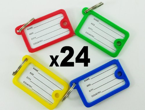 24 Plastic Key Tags with Split Ring 2 sides ID Labels 4.3cmx2.5cmx0.5cm Brand By TPN by