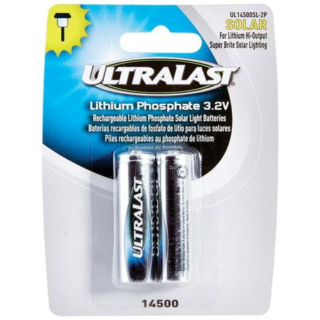 Image of Ultralast UL14500SL-2P 14500 Lithium Batteries for Solar Lighting, 2 pk