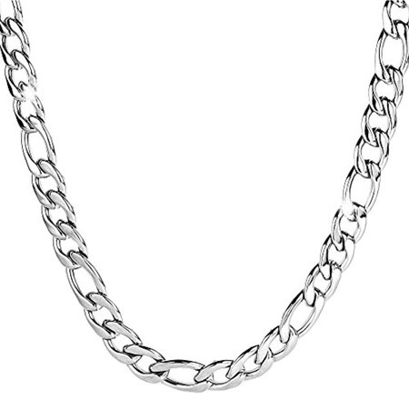 e305437718e10 Edforce Men's Surgical Stainless Steel Classic 9mm Figaro Link Chain  Necklace, 24