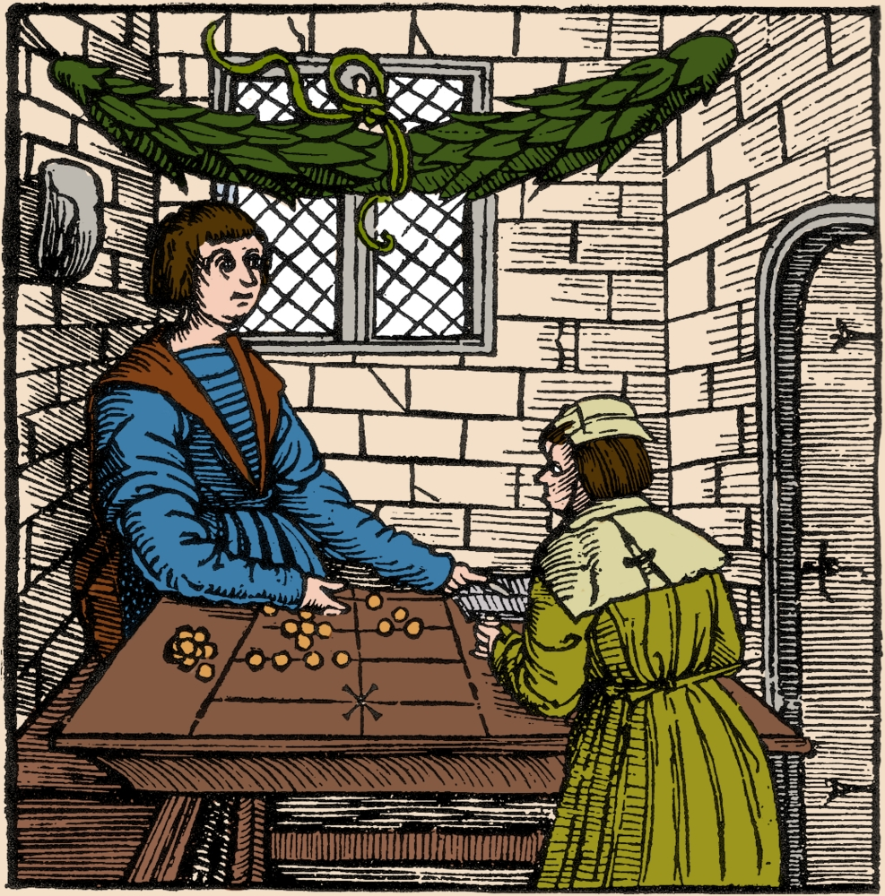 Merchant Using Abacus 16th Century Poster Print by Science Source