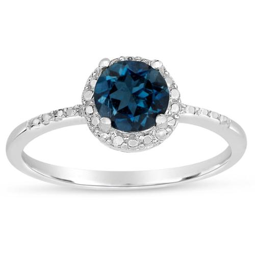 Dolce Giavonna Sterling Silver London Blue Topaz Ring Size 9