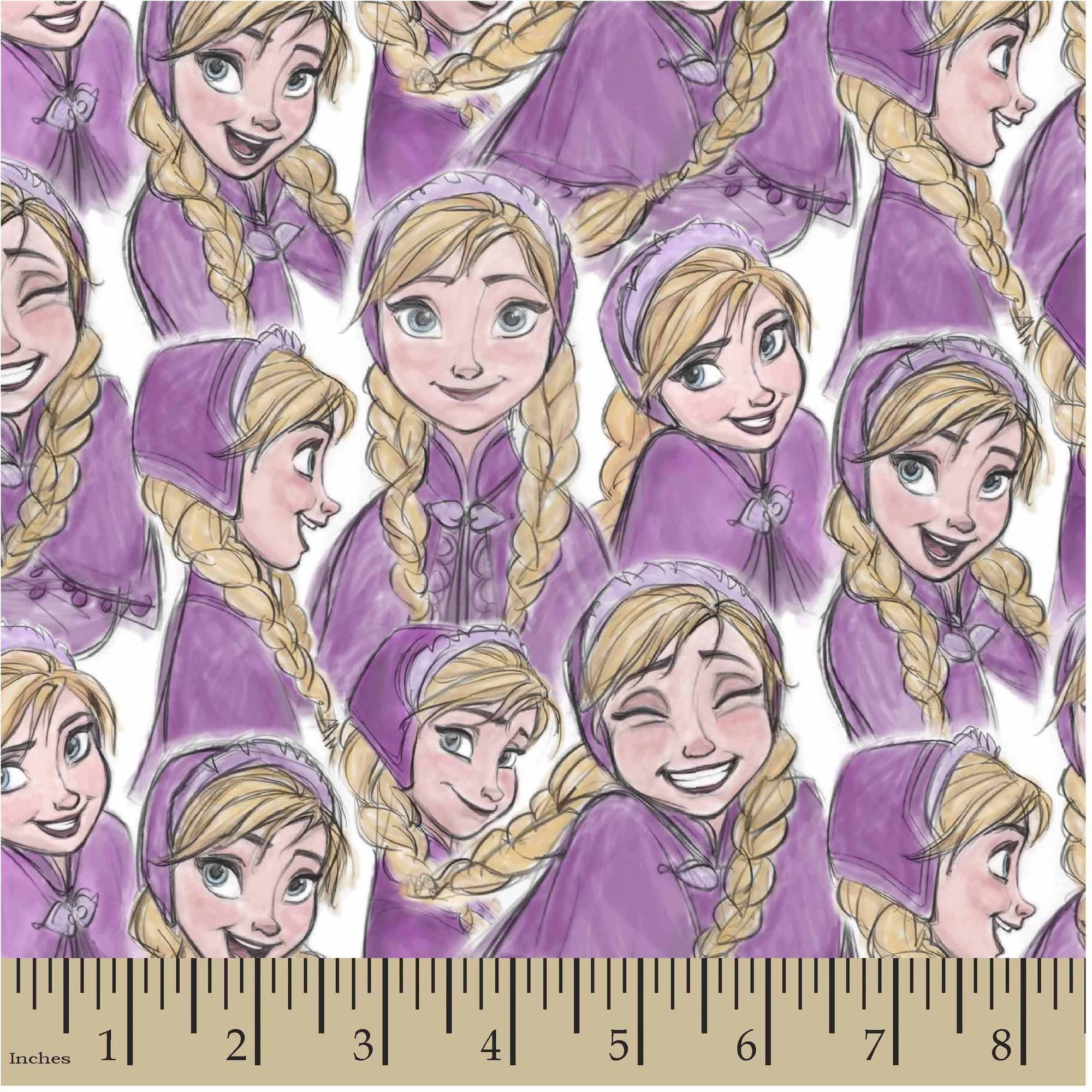 "Disney Frozen Anna Sketch, Purple, Jersey Knit, 58/59"" Width, Fabric by the Yard"