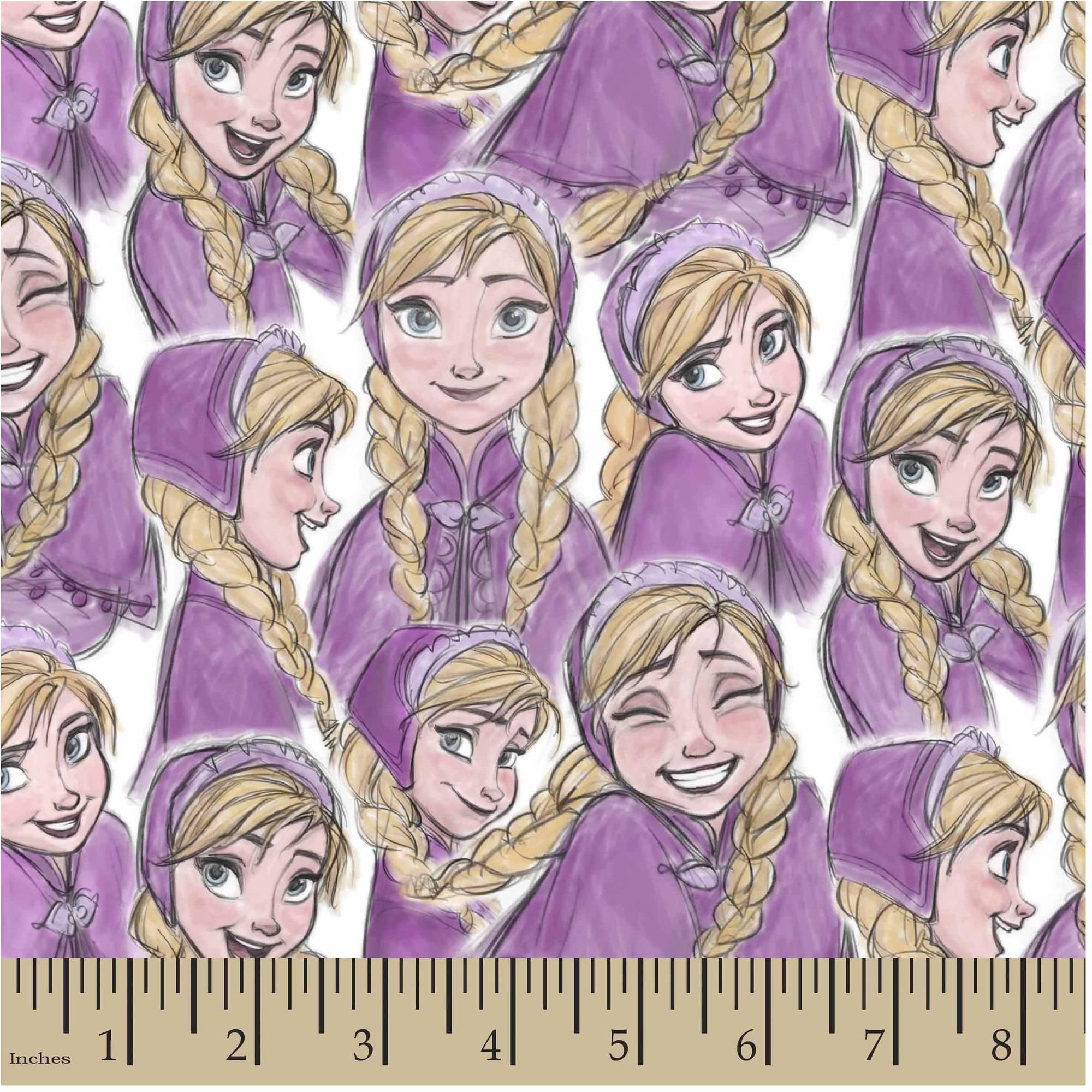 """Disney Frozen Anna Sketch, Purple, Jersey Knit, 58/59"""" Width, Fabric by the Yard"""