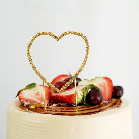 Efavormart Gold Rhinestone Heart Wedding Cake Topper For Wedding Party Special Event Personalized Decorations (Decoration For Cakes)